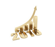3d illustration of rising arrow and 2016. 3d illustration of arrow and year meaning growth Royalty Free Stock Photos