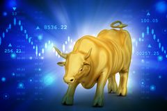 Rising golden business bull in color background. 3d illustration of Rising golden business bull in color background Stock Photography
