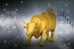 Rising golden business bull Royalty Free Stock Images