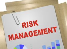 RISK MANAGEMENT concept. 3D illustration of RISK MANAGEMENT title on business document Royalty Free Stock Images
