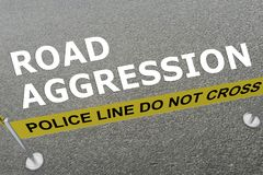 Road Aggression concept. 3D illustration of ROAD AGGRESSION title on the ground in a police arena Stock Image