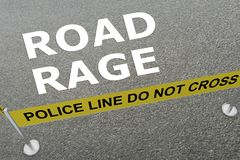 ROAD RAGE concept. 3D illustration of ROAD RAGE title on the ground in a police arena Royalty Free Stock Photos