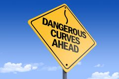 3D Illustration of a road sign _dangerous curves ahead_angle3 stock photos