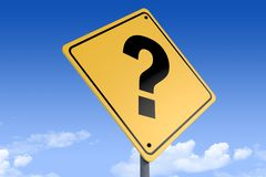3D Illustration of a road sign_question mark_angle3 royalty free stock image