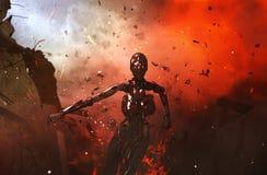 Robot battle. 3d illustration of Robot battle,mixed media vector illustration