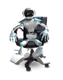 3D Illustration of a Robot in a Chair Royalty Free Stock Images