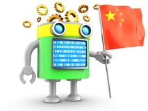 3d droid over white. 3d illustration of robot with with china flag over white background Stock Photography