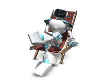 3D Illustration of a Robot in a Deckchair Stock Photo