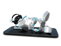 3D Illustration of a Robot in the Earpiece on Smartphone Royalty Free Stock Photography