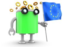 3d droid over white. 3d illustration of robot with with eu flag over white background Royalty Free Stock Photos