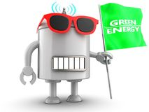 3d droid over white. 3d illustration of robot with with green energy flag over white background Stock Image