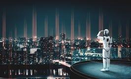 3D illustration robot humanoid looking forward against cityscape skyline