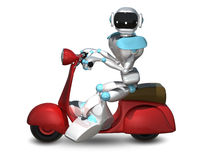 3D Illustration of a Robot on a Motor Scooter Royalty Free Stock Photos