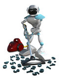3D Illustration of a Robot with a Vacuum Cleaner Stock Photos