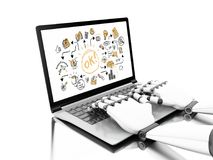 3d illustration. Robotic hands typing on a laptop with business royalty free illustration