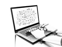 3d illustration. Robotic hands typing on a laptop stock illustration