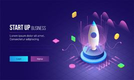3D illustration of rocket with infographic elements and ultraviolet rays for Business Startup concept landing page design. stock illustration