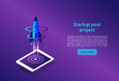 3D illustration of rocket with infographic elements and ultraviolet rays for Business Startup concept design royalty free illustration