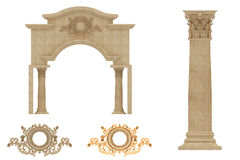 3D illustration of Roman ancient arc with greek corintian style Royalty Free Stock Image