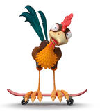 3d illustration rooster on a skateboard Stock Photography