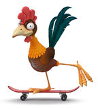 3d illustration rooster on a skateboard Royalty Free Stock Photos
