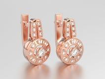 3D illustration rose gold decorative diamond earrings with hinge Stock Photo