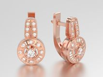 3D illustration rose gold decorative diamond earrings with hinge Royalty Free Stock Photography