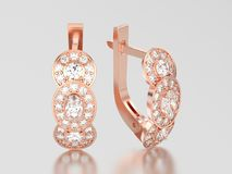 3D illustration rose gold decorative diamond earrings with hinge Royalty Free Stock Image