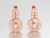 3D illustration rose gold decorative diamond earrings with hinge Stock Photos