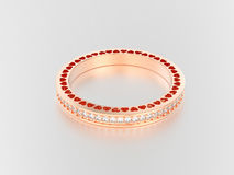 3D illustration rose gold eternity band ring with diamonds   Stock Photography