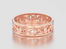 3D illustration rose gold matching couples wedding diamond ring. Bands on a gray background Royalty Free Stock Photos