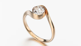 3D illustration rose gold ring bypass with diamond Stock Photo