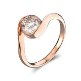 3D illustration rose gold ring bypass with diamond Stock Image