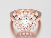 3D illustration rose gold solitaire decorative diamond ring with Royalty Free Stock Image