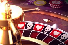 Let`s play?. 3D illustration of roulette of life or death Stock Images