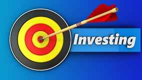3d round target with investing sign. 3d illustration of round target with investing sign over blue background Royalty Free Stock Image