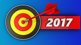 3d round target with 2017 year sign. 3d illustration of round target with 2017 year sign over blue background Royalty Free Stock Photos
