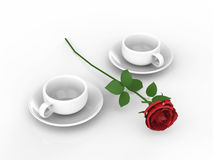 3D illustration rouse and white cups and saucers. 3D illustration rouse and two white cups and saucers Stock Photos