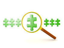 3D illustration of row of green puzzle pieces one being magnifie. D. The image could convey finding a solution Royalty Free Stock Images