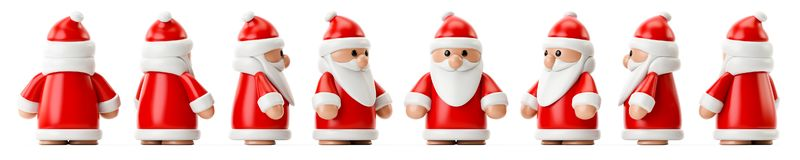 Row of Santa Claus figures. 3d illustration of a row of Santa Claus figures vector illustration