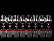 3d illustration row of whine glasses. With red drink  on black Royalty Free Stock Photo