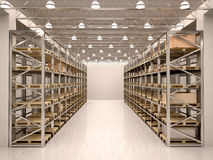3d illustration of rows of shelves with boxes Stock Image