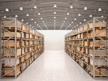3d illustration of rows of shelves with boxes. In modern warehous Stock Photo