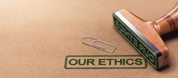 Our Ethics, Business Moral Principles. 3D illustration of rubber stamp over paper background with the text our ethics. Business moral principles concept Royalty Free Stock Photography