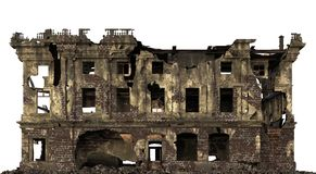 Ruined Building Isolated On White 3D Illustration. 3D illustration ruined building isolated on white stock illustration