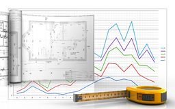 3d blank. 3d illustration of ruler with drawings over business graph background Royalty Free Stock Images