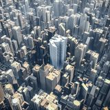 Rupee office tower concept. 3D illustration of rupee currency symbol shaped building in downtown modern city Royalty Free Stock Photo