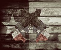 Texas guns on wooden painted background. 3d illustration of rusty guns on Texas flag Stock Images