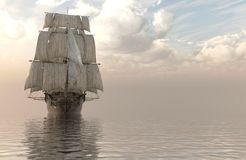 3D Illustration Sailboat On The Sea. Old Sailboat On The Sea 3D Illustration Stock Images