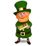 3D Illustration of Saint Patrick with Gold Bullion. On a White Background Royalty Free Stock Photos